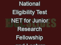 CSIRUGC National Eligibility Test NET for Junior Research Fellowship and Lecture