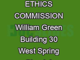 OHIO ETHICS COMMISSION William Green Building 30 West Spring Street, L