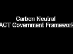 Carbon Neutral ACT Government Framework