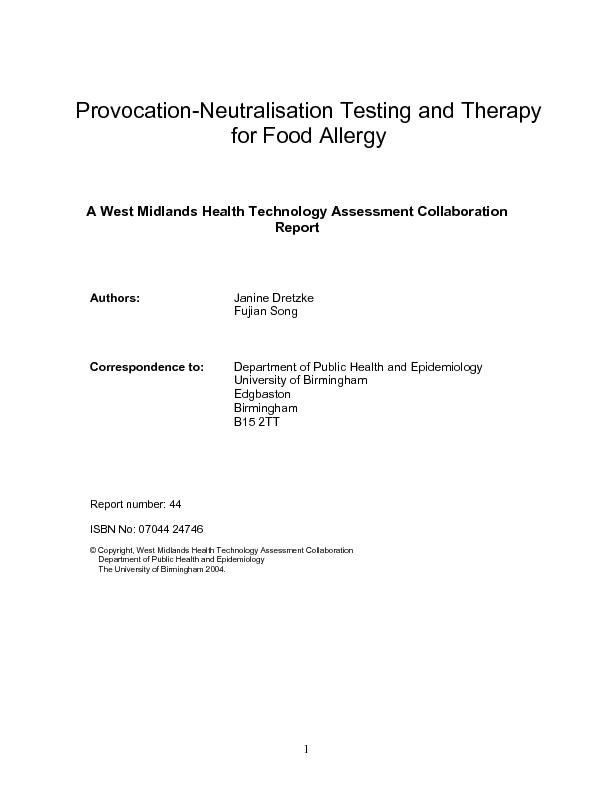 Provocation-Neutralisation Testing and Therapy for Food Allergy  ...