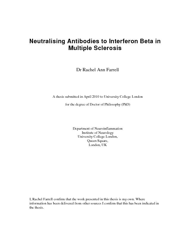 Neutralising Antibodies to Interferon Beta in Multiple Sclerosis Dr Ra