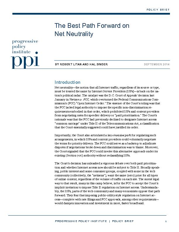 POLICY INSTITUTE  |  POLICY BRIEF   1 The Best Path Forward on  Net Ne