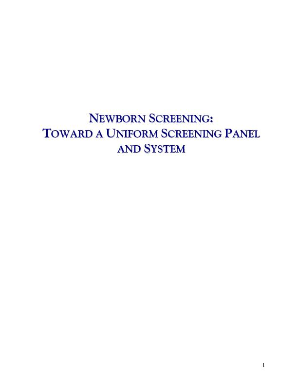 Newborn Screening Steering Committee Centers for Disease Control and P