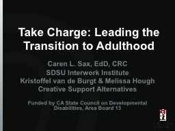 Take Charge: Leading the Transition to Adulthood