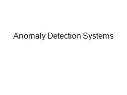 Anomaly Detection Systems