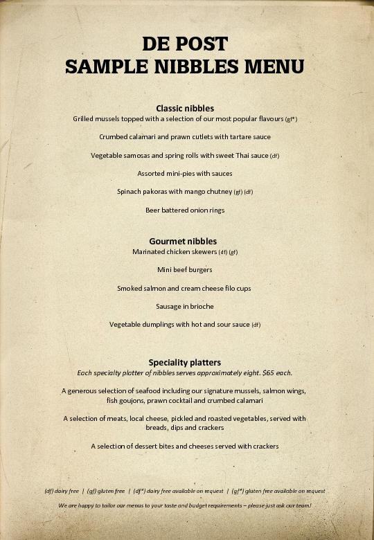 SAMPLE NIBBLES MENU