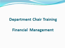Department Chair Training