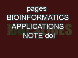 pages  BIOINFORMATICS APPLICATIONS NOTE doi