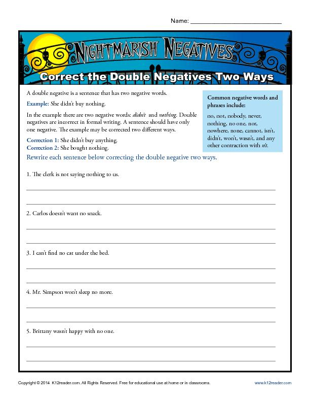Correct the Double Negatives Two Ways
