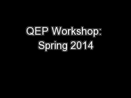 QEP Workshop: Spring 2014