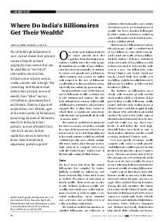 COMMENTARY october   vol xlviI no  EPW Economic  Political Weekly  Where Do Indias Billionaires Get Their Wealth Aditi Gandhi Michael Walton Aditi Gandhi  gandhi