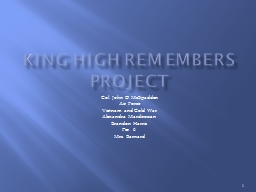 King High Remembers Project PowerPoint PPT Presentation