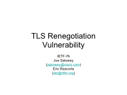 TLS Renegotiation Vulnerability PowerPoint PPT Presentation