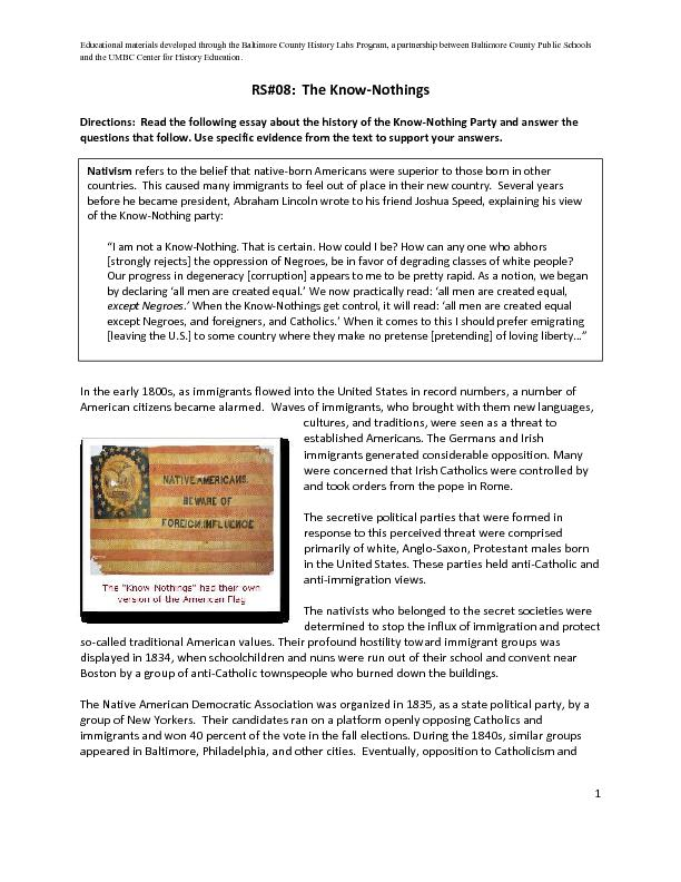 Educational materials developed through the Baltimore County History L