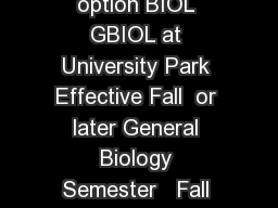 Recommended Academic Plan for Biology General Biol ogy option BIOL GBIOL at University Park Effective Fall  or later General Biology Semester   Fall Credits Semester   Spring Credits BIOL  GN Basic C