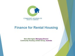 Finance for Rental Housing PowerPoint PPT Presentation