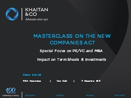 MASTERCLASS ON THE NEW COMPANIES ACT