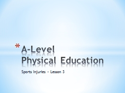 Sports Injuries – Lesson 3