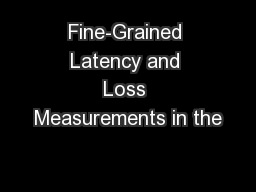 Fine-Grained Latency and Loss Measurements in the