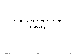 Actions list from third ops meeting