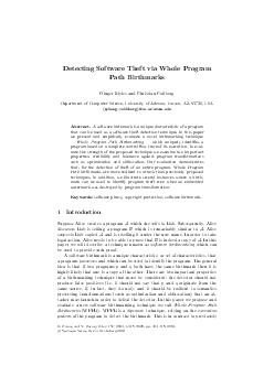 Detecting Software Theft via Whole Program Path Birthmarks Ginger Myles and Christian Collberg Department of Computer Science University of Arizona Tucson AZ  USA mylesgcollberg cs