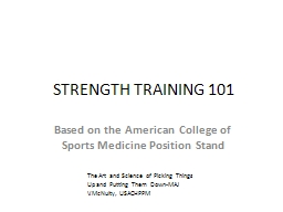 STRENGTH TRAINING 101 PowerPoint PPT Presentation