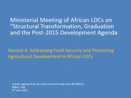 "Ministerial Meeting of African LDCs on ""Structural Transf"
