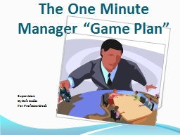 "The One Minute Manager ""Game Plan"" PowerPoint PPT Presentation"