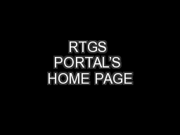 RTGS PORTAL'S HOME PAGE