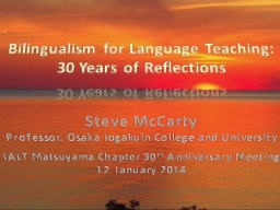 Bilingualism for Language Teaching:
