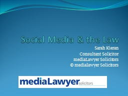 Social Media & the Law PowerPoint PPT Presentation