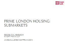 Prime London Housing: Submarkets