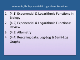 Lectures 4a,4b: Exponential & Logarithmic Functions