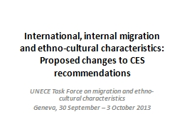 International, internal migration and ethno-cultural charac