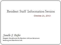 Resident Staff Information Session