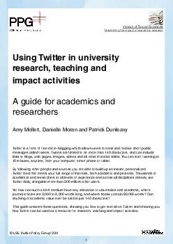 Using Twitter in university research teaching and impact activities A guide for  PDF document - DocSlides