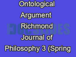 On The Ontological Argument  Richmond Journal of Philosophy 3 (Spring
