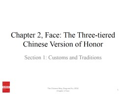Chapter 2, Face: The Three-tiered Chinese Version of Honor