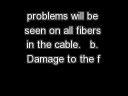 problems will be seen on all fibers in the cable.   b. Damage to the f