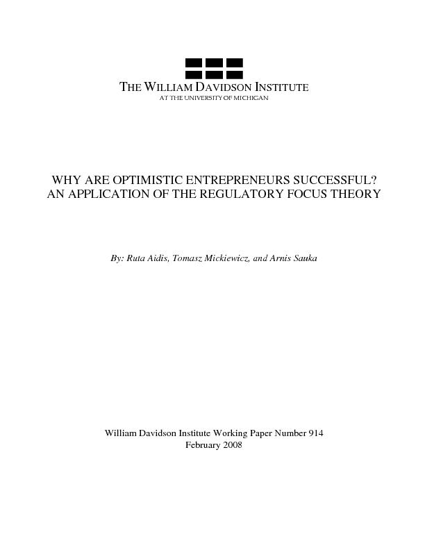 WHY ARE OPTIMISTIC ENTREPRENEURS SUCCESSFUL?  AN APPLICATION OF THE RE