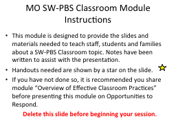 MO SW-PBS Classroom Module PowerPoint PPT Presentation