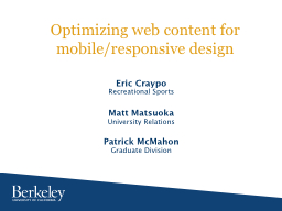 Optimizing web content for PowerPoint PPT Presentation
