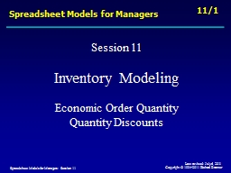 Spreadsheet Models for Managers PowerPoint PPT Presentation
