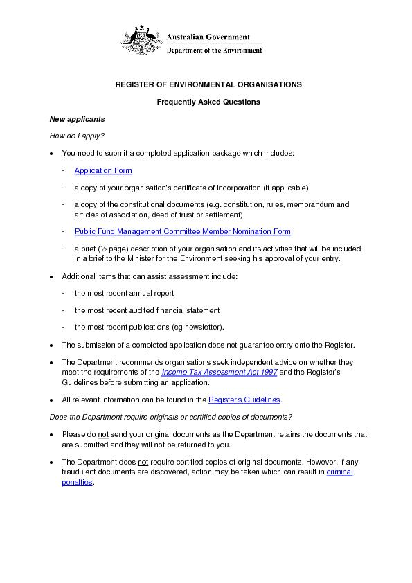 REGISTER OF ENVIRONMENTAL ORGANISATIONSFrequently Asked QuestionsNew a