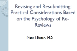 Revising and Resubmitting:  Practical Considerations Based