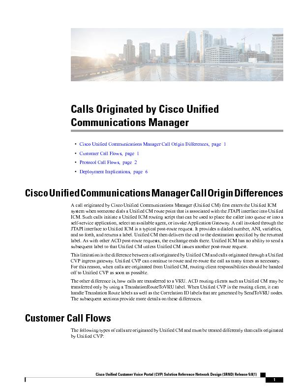 Calls Originated by Cisco UnifiedCommunications Manager