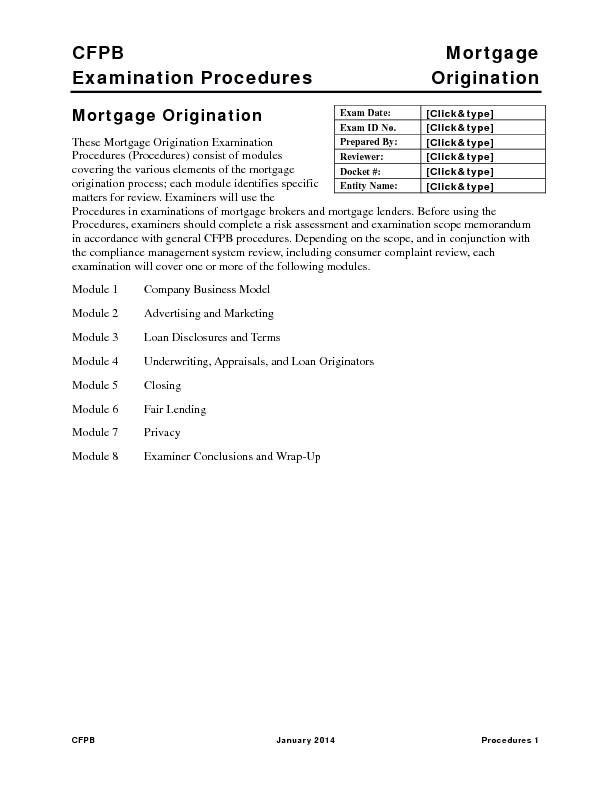 CFPB   Mortgage  Examination Procedures  Origination