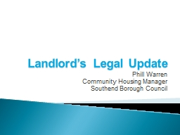 Landlord's Legal Update PowerPoint PPT Presentation