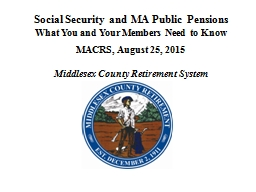 Social Security and MA Public PowerPoint PPT Presentation