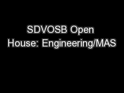SDVOSB Open House: Engineering/MAS